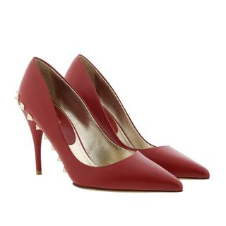 Pumps - Rockstud High Heels Leather Red in rood voor dames - Gr. 39 (EU)