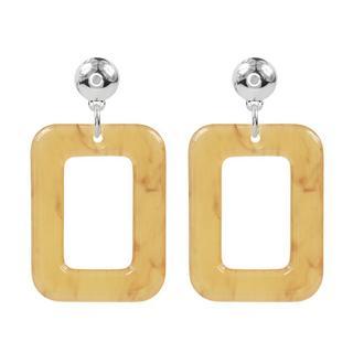 Square Earrings -Honey Beige - Gold/Silver