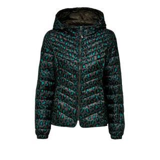 winterjas met panterprint groen