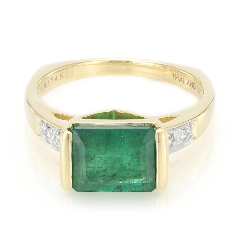 Klaring Winkel Op Zoek Naar Online Amayani Gouden ring met een Sao Francisco smaragd F5oypbC