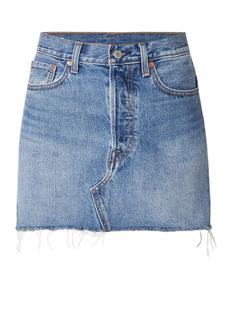 Deconstructed denim minirok met gerafelde zoom