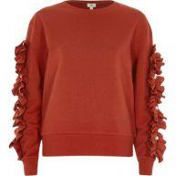 Rood sweatshirt met ruches aan de mouwen