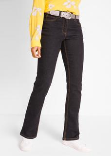 Dames stretchjeans straight in zwart