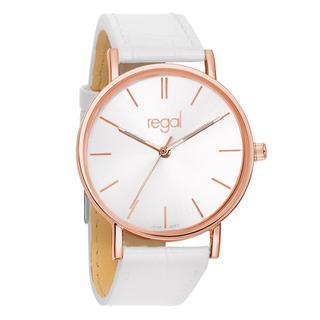 slimline horloge witte leren band R1628R-19