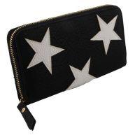 Hippe zwarte portemonnee met witte sterren erop.