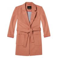 Maison Scotch Bonded Wool Blend Coat With Belt An