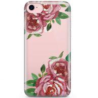iPhone 8 / 7 transparant telefoonhoesje - Rode rozen