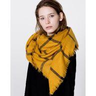 Mosterdgele foulard met grove ruit