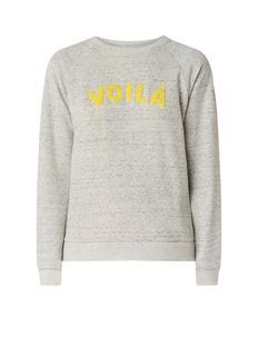 Voila sweater in katoenblend met tekstopdruk