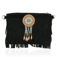 Leather Festival Clutch - Black