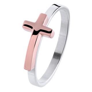 Stalen ring met roseplated kruis