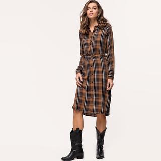 bruine geruite jurk
