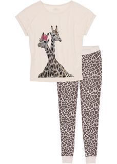 Dames pyjama (2-dlg.) korte mouw in grijs
