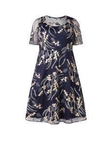 Elfie A-lijn jurk met bloemenborduring en mesh