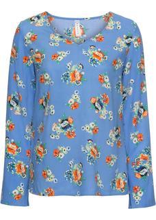 Dames blouse lange mouw in blauw