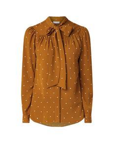 Violet blouse met blinde knoopsluiting en strikkraag