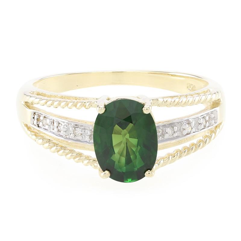 Juwelo Gouden ring met een kijzerliijke chroom toermalijn Kopen Goedkope Gratis Verzending ZsOTxoJO