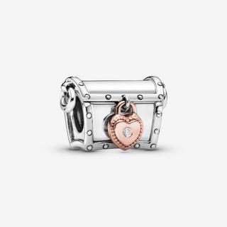 Club 2019 Treasure Box Bedel, Sieraden uit Sterling zilver en met 14 karaat roségoud vergulde metaallegering, No other material, Clear,...