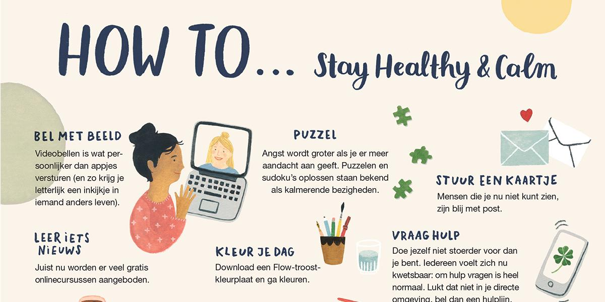 Flow Magazine poster - How to stay healthy and calm