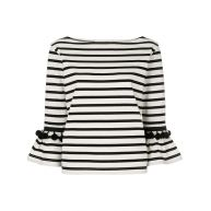 Marc Jacobs striped bell sleeve top - Black