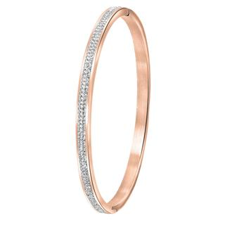 stalen armband bangle roseplated kristal