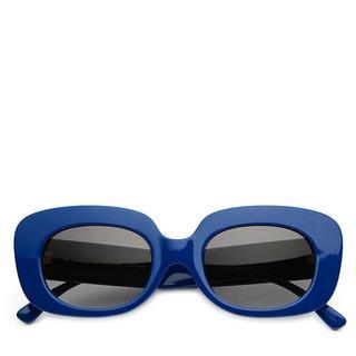 Zonnebril. Langwerpig. Blauw.