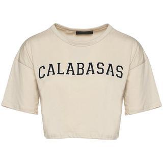 CALABASAS CROPPED TEE BEIGE