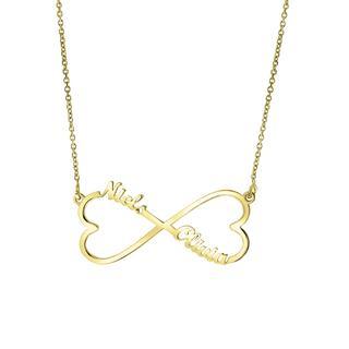 Zilveren naamketting gold infinity/hart