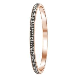 Stalen armband roseplated black diamond kristal