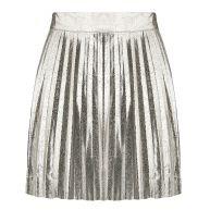 Shiny Plissé Skirt - Silver