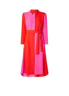Mila blousejurk met colour blocking en strikceintuur
