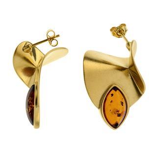 Zilveren oorbellen met Baltische barnsteen ()