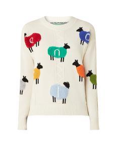 Fijngebreide pullover met ingebreide schapen