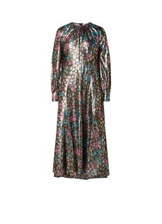 Maxi-jurk met bloemendessin en lurex