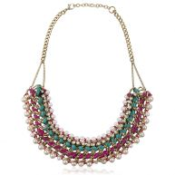 Colored Chain Necklace - Fuchsia & Turquoise