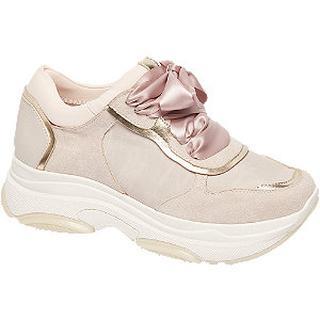 Lichtroze chunky sneaker met lint veter