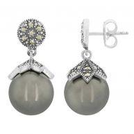 Zilveren oorbellen met Tahiti parels (M de Luca)