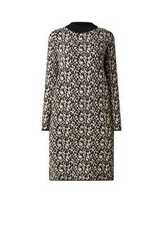Midi-jurk met ingebreid luipaarddessin