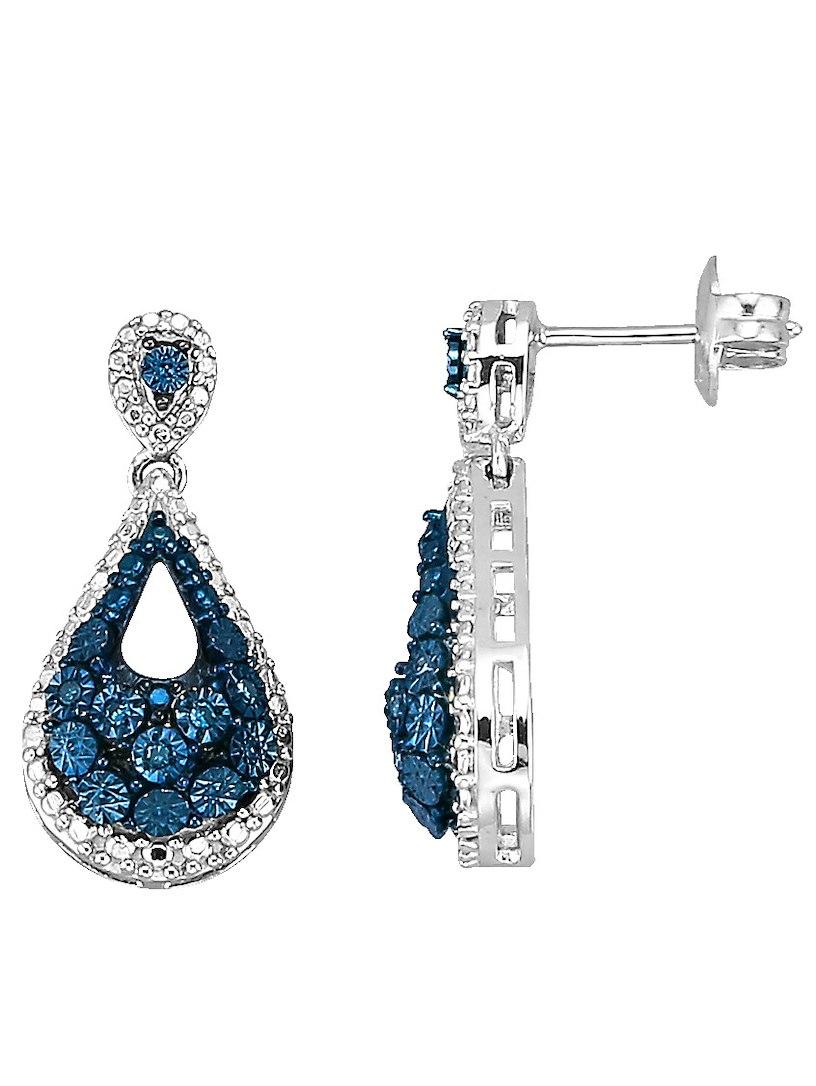 Orecchini D'argento Diemer Con Diamanti Blu Blu