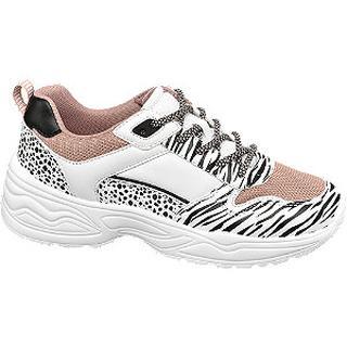 Witte chunky sneaker dierenprint
