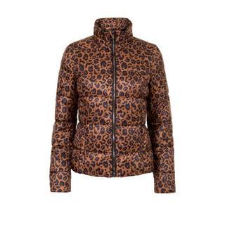 Regulier winterjas met panterprint bruin/zwart