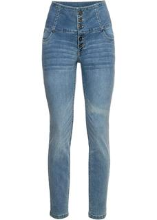 Dames skinny jeans, high waist in blauw
