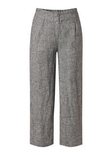 Belt straight fit pantalon van linnen met ingeweven dessin