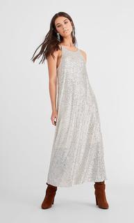 Midi-jurk met lovertjes DAMES Grijs L