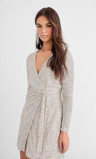 Sequin wrap dress DAMES Grijs L