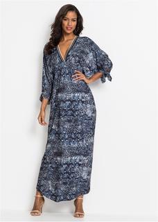 Dames maxi jurk met v-hals lange mouw in blauw