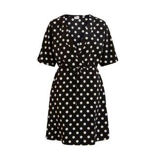 jurk met stippen zwart