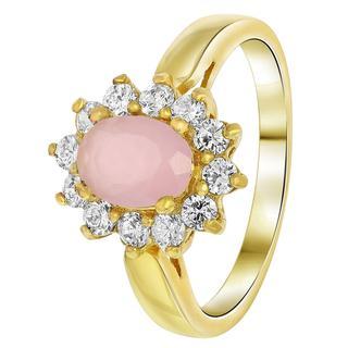 Goldplated ring milky pink met zirkonia