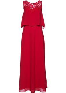 Dames maxi jurk met kant zonder mouwen in rood