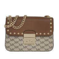Michael Kors Schoudertassen - Sloan Editor Medium Chain Shoulder Bag Natural/Luggage in bruin, beige voor dames